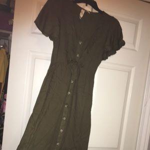 Army Green flowy dress